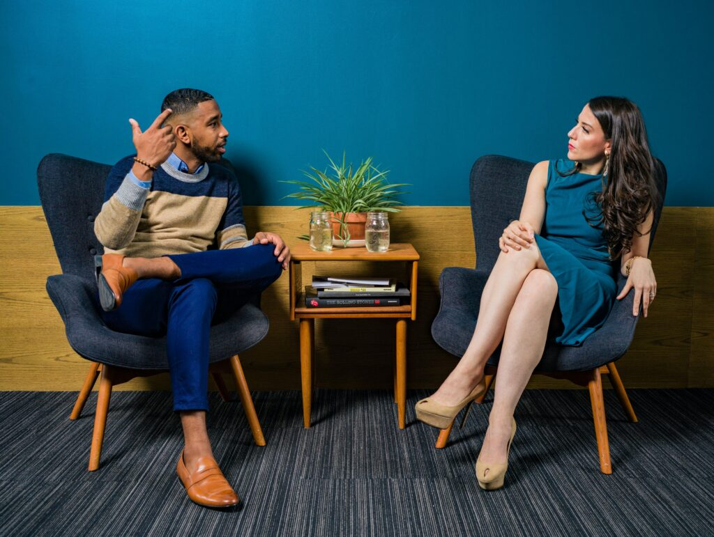 picture of a man and woman chatting